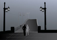 Couple, bridge and mist Stock Images