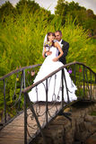 Couple on bridge Royalty Free Stock Photography