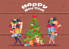 Couple Bring Stack Of Present Boxes To Christmas Tree Over Wooden Textured Background, Happy New Year Greeting Card. Vector Illustration Stock Photo