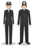 Couple of british policeman and policewoman in traditional uniforms standing together on white background in flat style Royalty Free Stock Photography