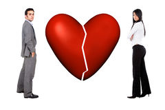 Couple with broken heart Royalty Free Stock Photo