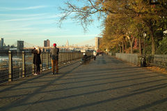 Couple on Autumn Brooklyn Promenade, New York USA Stock Images