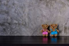 Couple brown dolls bear holding hands and standing royalty free stock photo