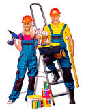 Couple builder  with construction tools Royalty Free Stock Photos