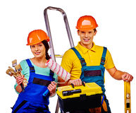 Couple builder  with construction tools Royalty Free Stock Photo