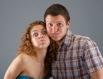 Couple is building a grimace Stock Images