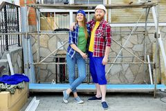 Couple building a house. Construction. Man and his wife building a house Stock Photo