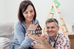 Couple building their house Royalty Free Stock Photography