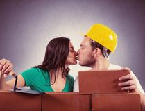Couple builds a house Royalty Free Stock Photography