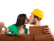 Couple builds a house Royalty Free Stock Photo