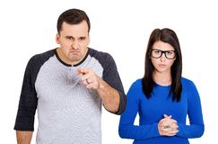 Couple bully man, nerd woman Royalty Free Stock Image