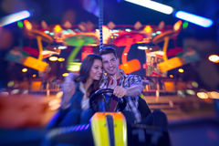 Couple in bumper car - shoot with lensbaby Royalty Free Stock Photos