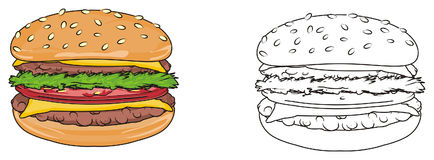 Couple of burgers. Colored burger with coloring burger Stock Images