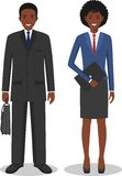Couple of business african american man and woman standing together on white background in flat style. Business team and Stock Images