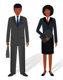 Couple of business african american man and woman on a white background. Business teamwork concept. Human characters. Royalty Free Stock Photos