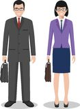 Couple of business american man and woman standing together on white background in flat style. Business USA team and Royalty Free Stock Photo