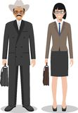Couple of business american man and woman standing together on white background in flat style. Business USA team and teamwork conc Stock Images