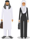 Couple of business arab man and woman standing together on white background in flat style. Business arabic team and teamwork conce Stock Photography
