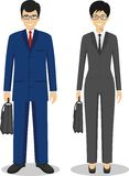 Couple of business asian man and woman standing together on white background Royalty Free Stock Photos