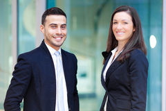 Couple of business partners outdoor Stock Images