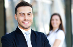 Couple of business partners outdoor royalty free stock image
