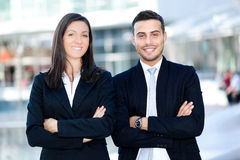 Couple of business partners outdoor Royalty Free Stock Images