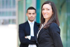 Couple of business partners outdoor royalty free stock photography