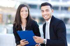 Couple of Business People outdoor Royalty Free Stock Image