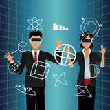 Couple business vr glasses 3d display. Vector illustration eps 10 Royalty Free Stock Images