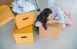 Couple move to new home stock image