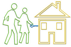 Couple buy new house. Illustration of a couple with the key to their new home. depicted in neon tube style part of the NEON LIFE SERIES stock illustration
