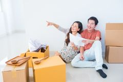 New couple planing to decorate home stock image