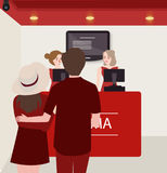Couple buy purchase movie ticket counter theater. Vector Royalty Free Stock Photos
