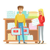 Couple Buying Bedsheets For Bedroom, Smiling Shopper In Furniture Shop Shopping For House Decor Elements. Cartoon Characters Looking For Home Interior Design Stock Photo