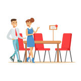 Couple Buying Big Dining Table And Chairs For Dining Room, Smiling Shopper In Furniture Shop Shopping For House Decor. Elements. Cartoon Characters Looking For Stock Photo
