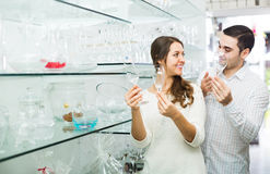 Couple buying ceramic Stock Photos