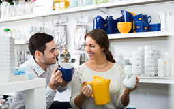 Couple buying ceramic Stock Photography