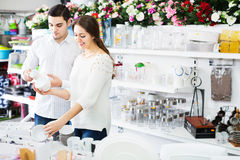 Couple buying ceramic tableware Stock Photography