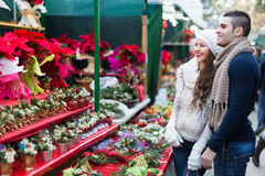 Couple buying Christmas flower at market Stock Photography