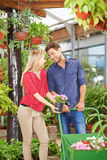 Couple buying flowers in garden center. Smiling couple buying flowers in nursery shop of a garden center stock photo
