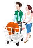 Couple Buying a House, illustration Stock Images