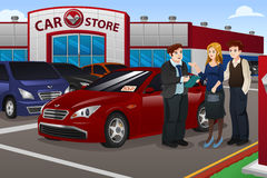 Couple Buying New Car. A vector illustration couple buying new car in the dealership Stock Photography