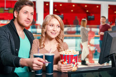 Couple buying popcorn and coke Royalty Free Stock Photos