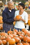 Couple buying pumpkin. Royalty Free Stock Image