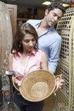 Couple Buying Wicker Basket Stock Photos