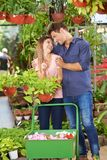 Couple buys plants in the garden center. Laughing couple buys philodendron plants in the garden center royalty free stock images