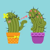 Couple of cactus blowing kiss Stock Photos