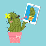 Couple of cactus video chatting on tablet Stock Image