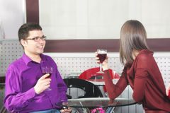 Couple in cafe Royalty Free Stock Photography
