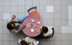 Couple in Cafe. Man and Women in Cafe. View from above Stock Photos